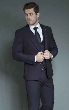Navy white label suit