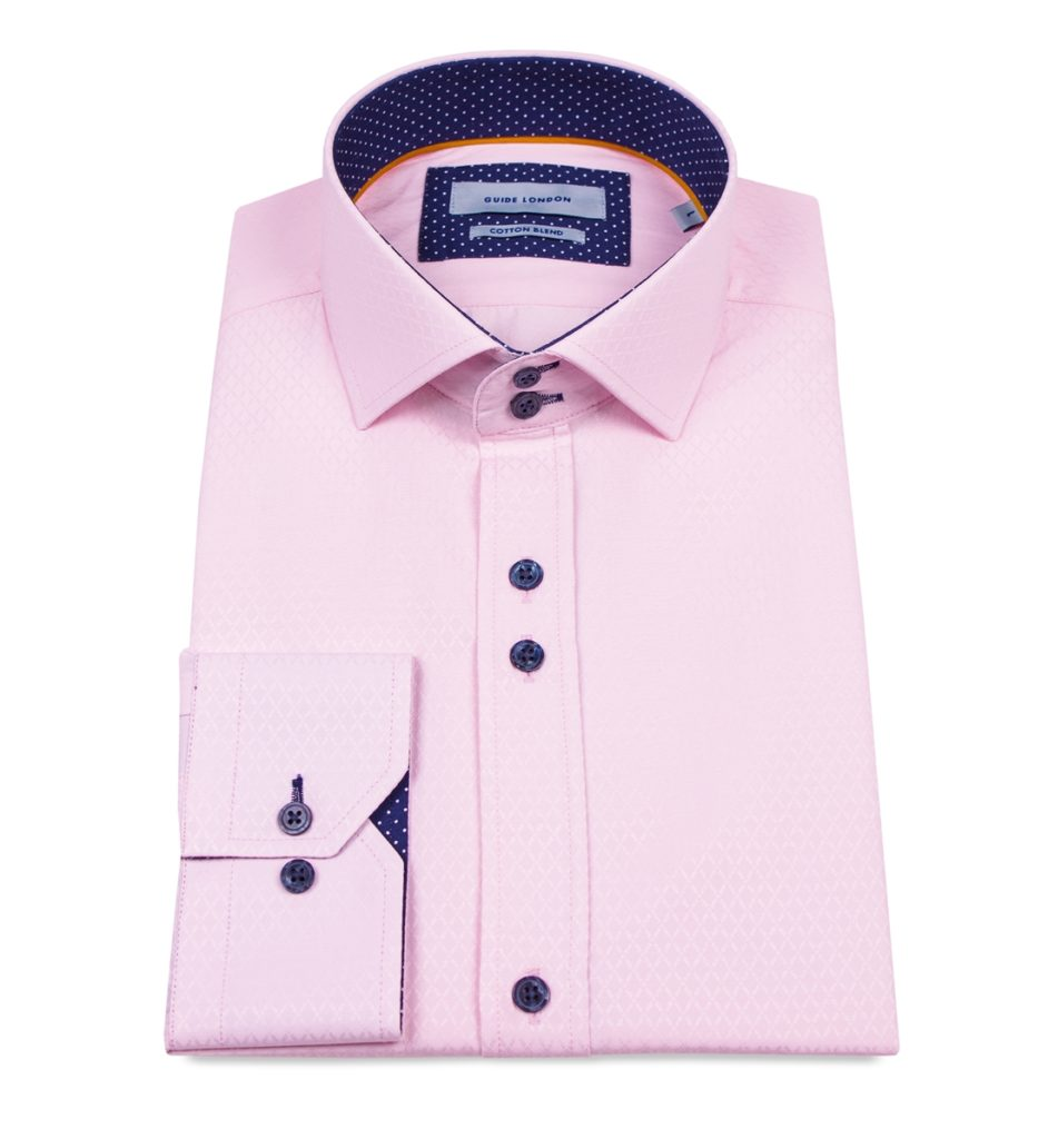 Guide London Jacquard Pattern Shirt Pink