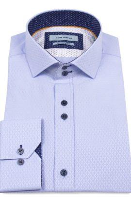 Guide London Jacquard Pattern Shirt Blue