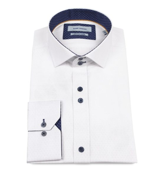 Guide London Jacquard Pattern Shirt White