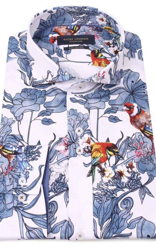 Guide London Colourful Bird Print Shirt