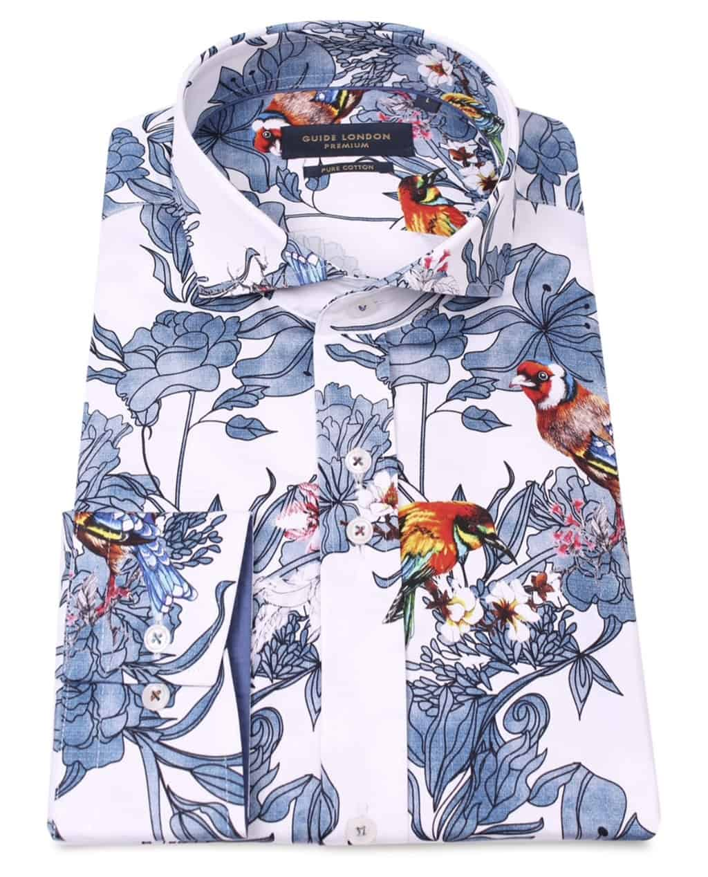 Guide London Colourful Bird Print Shirt