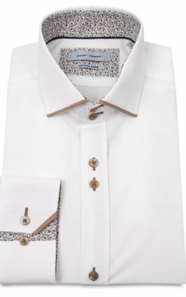 Guide London White Cotton Blend Shirt