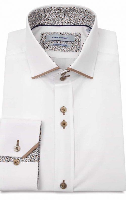 Guide London White Cotton Blend Shirt