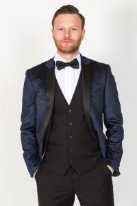 Marc Darcy Navy Velvet Blazer
