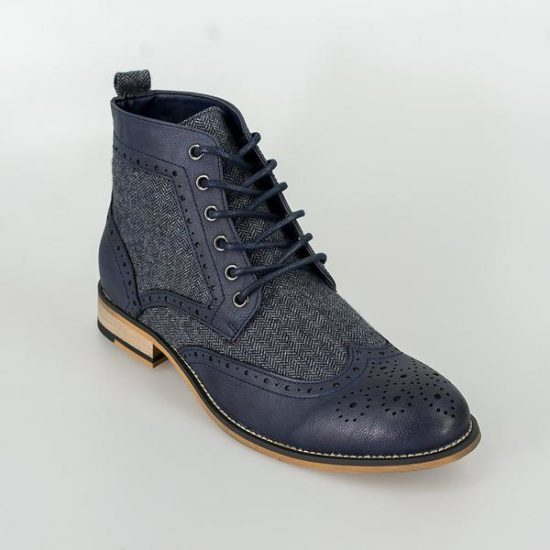 Cavani Two tone Brogue Boots Navy