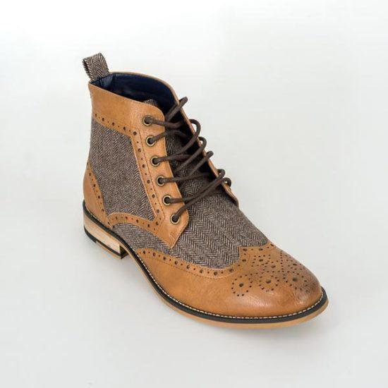 Cavani Two Tone Brogue Boots Tan