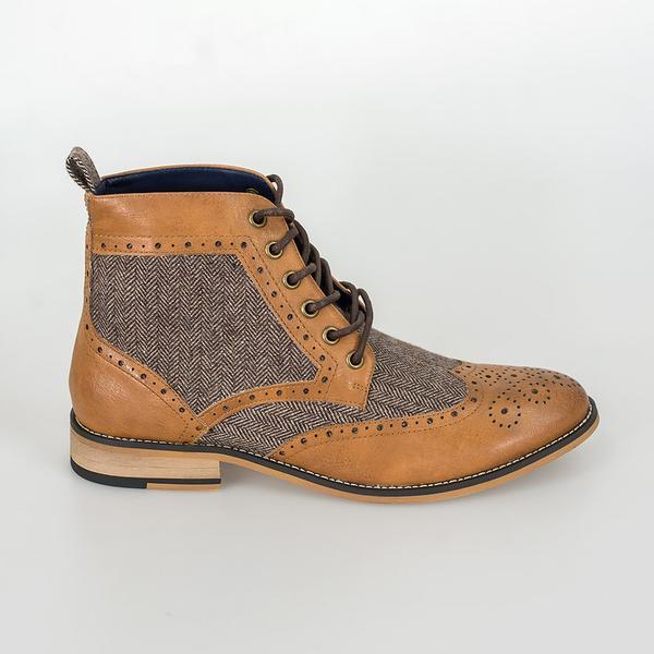 Cavani Two Tone Brogue Boots Tan 2021
