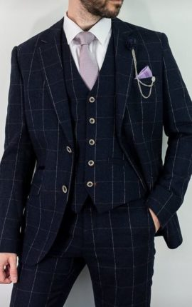Cavani Suit Angels Navy Check