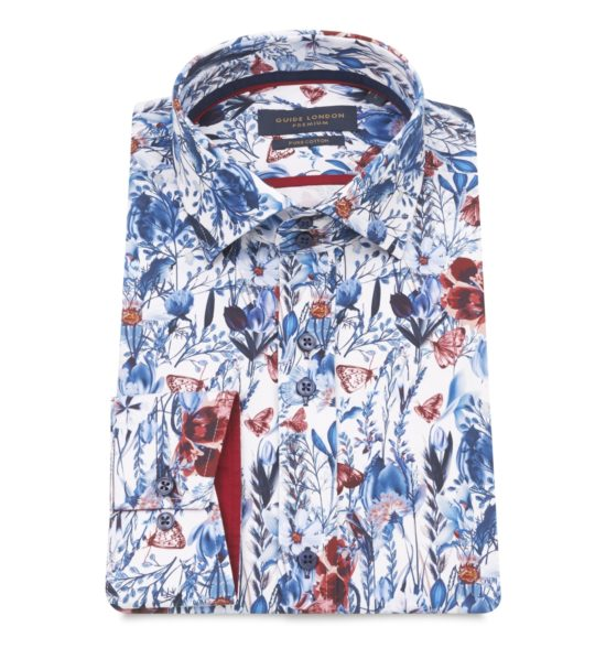 Guide London Navy Tulip Print Shirt