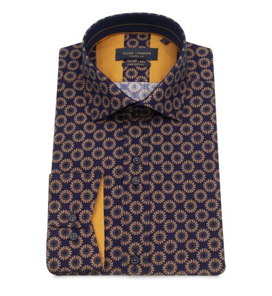 Guide London Navy Wheel Spoke Print Shirt