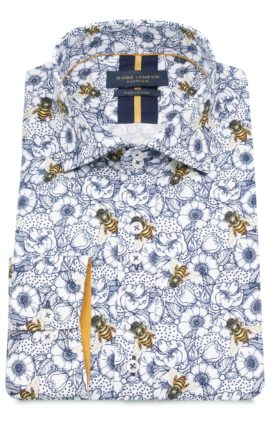 Guide London White Floral Bee Print Shirt