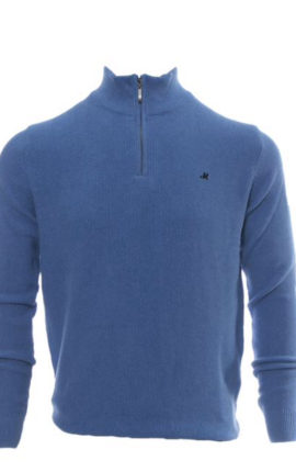 Mineral Kerry Mid Blue Half Zip Sweater