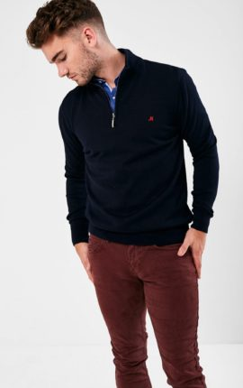 Mineral Kerry Navy Half Zip Sweater