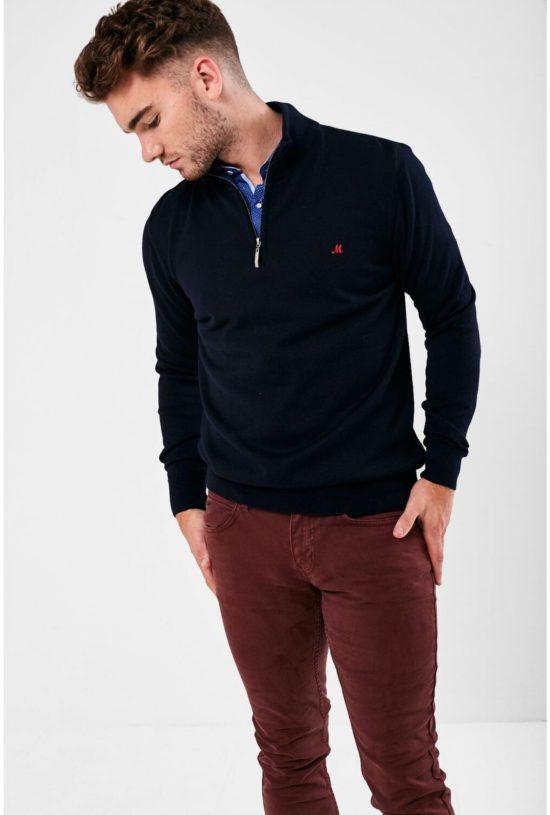 Mineral Kerry Navy Half Zip Sweater
