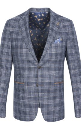 Fratelli Uniti Navy Checked Jacket