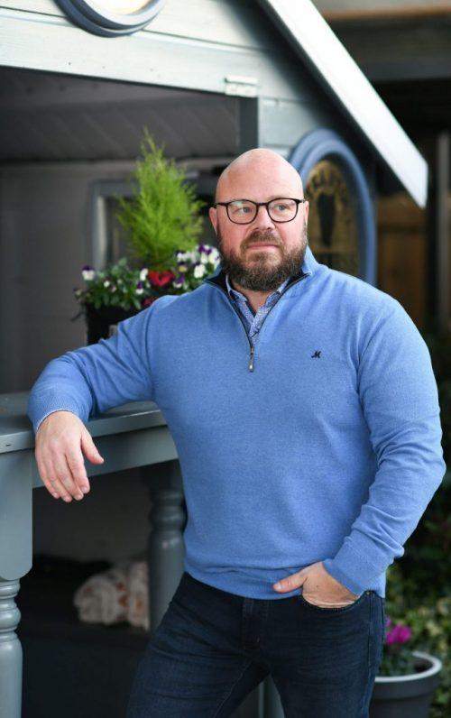 Mineral Kerry Mid Blue Half Zip Sweater