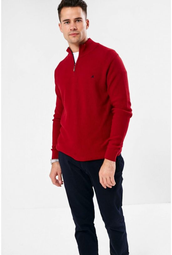 Mineral Kerry Cherry Half Zip Sweater