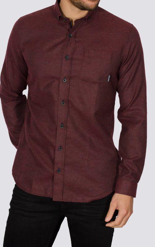 Alaska Burgundy Slim Fit Flannel Shirt