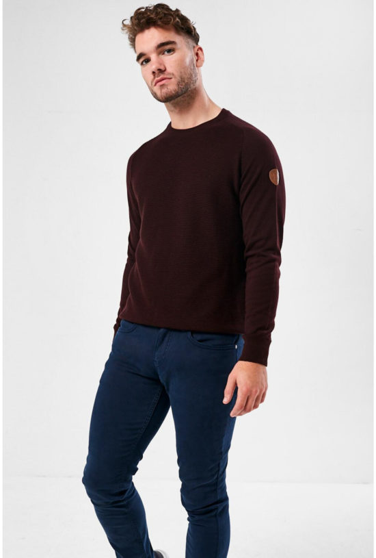 Mujeres Burgundy Crew Neck Jumper