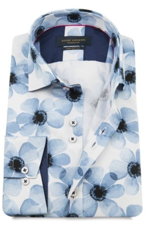 Guide London White and Blue Flower Print Shirt 2021