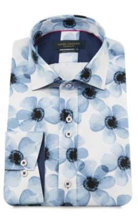 Guide London White and Blue Flower Print Shirt