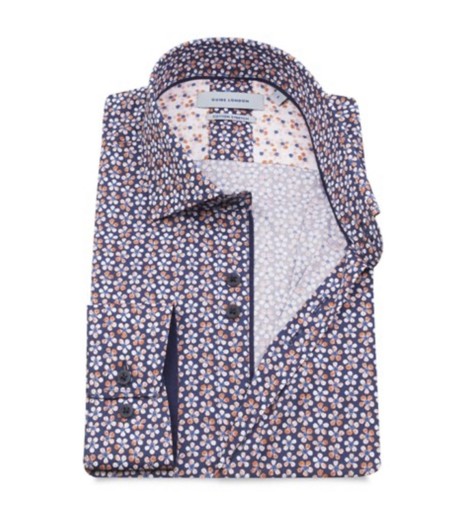 Guide London Navy Floral Print Shirt 2021