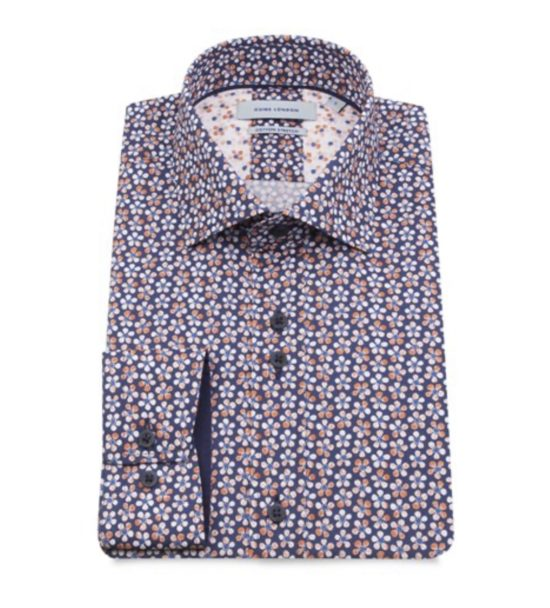 Guide London Navy Floral Print Shirt