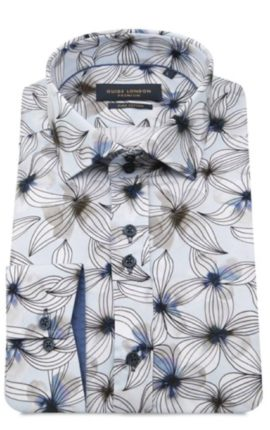 Guide London Pale Blue Flower Print Shirt