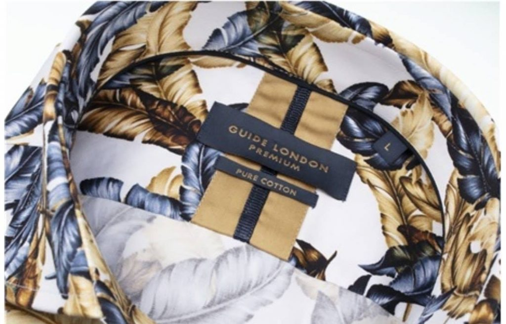 Guide London Gold and Navy Feather Print Shirt 2021