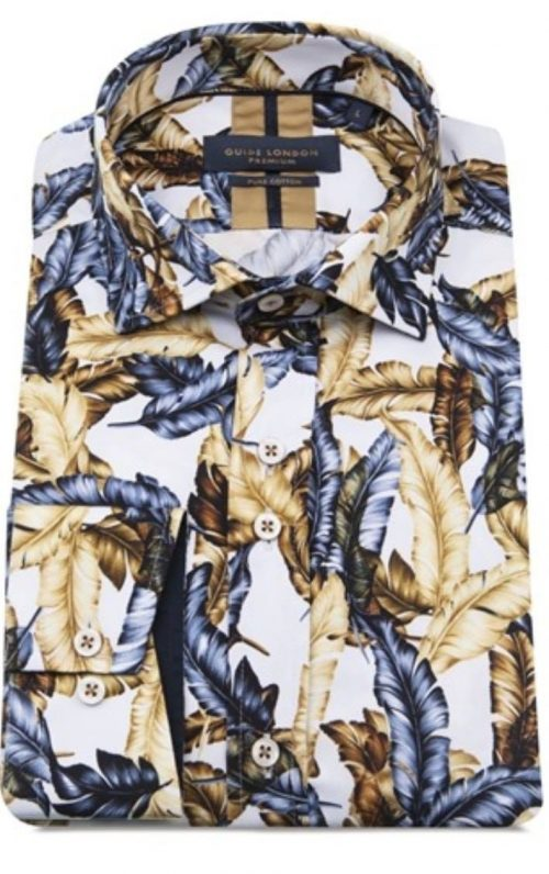 Guide London Gold and Navy Feather Print Shirt
