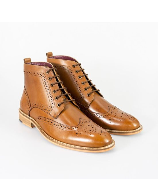 Cavani Holmes Tan Lace-Up Boots