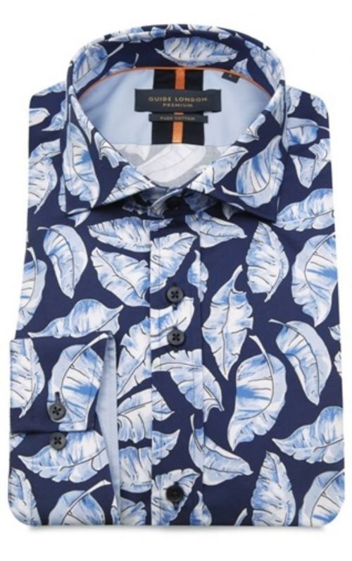 Guide London Navy Feather Print Shirt