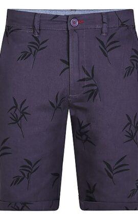 D555 Chapman Leaf Print Navy Shorts