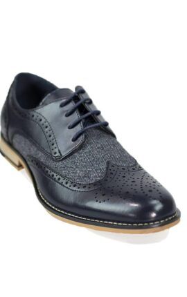 Cavani Horatio Navy Tweed Brogues