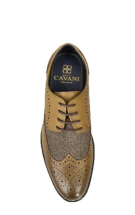 Cavani Horatio Tan Tweed Brogues