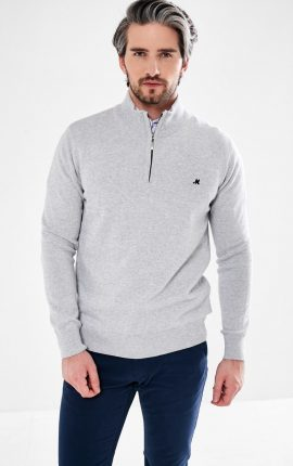 Mineral Altis Grey Half Zip Jumper