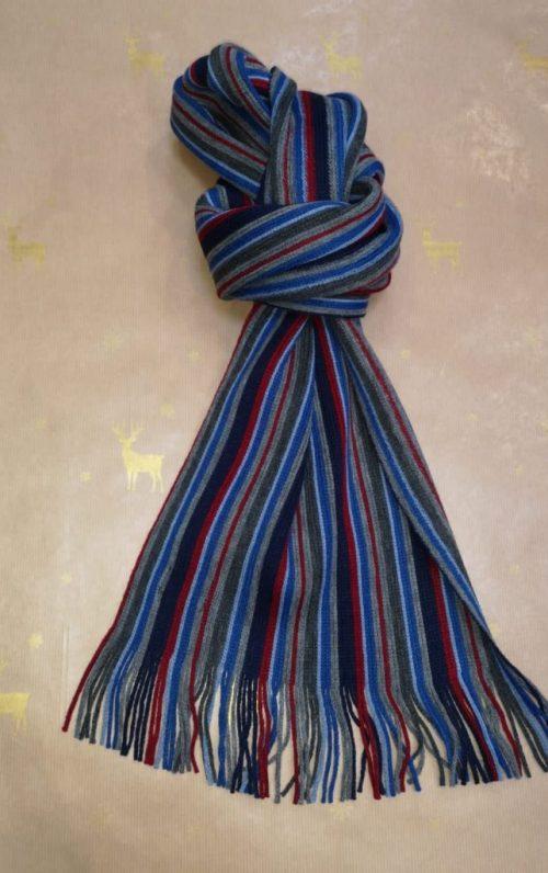 Zazzi Grey and Navy Stripe Scarf