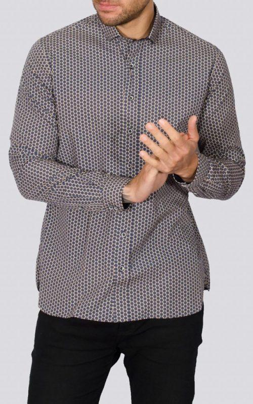 Kar Navy Geo Print Long Sleeved Shirt