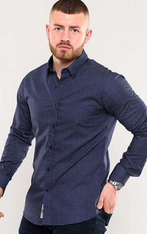 D555 Barker Navy Long Sleeved Shirt