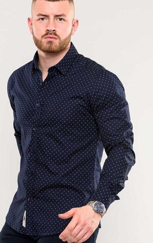 D555 Augusta Navy Long Sleeve Shirt