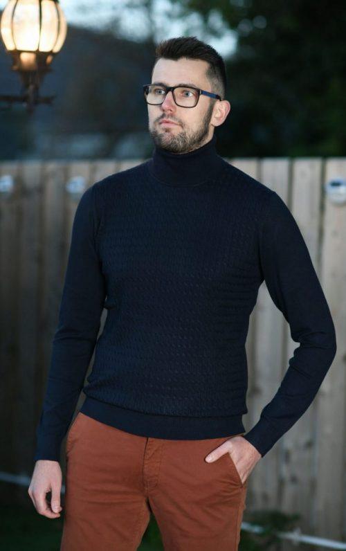 Markup High Neck Pullover Navy Knit