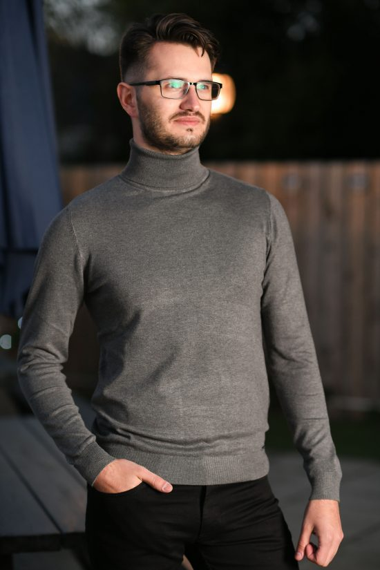 Markup High Neck Grey Sweater