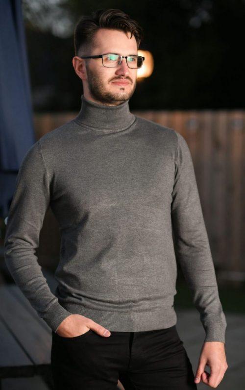 Markup High Neck Grey Sweater