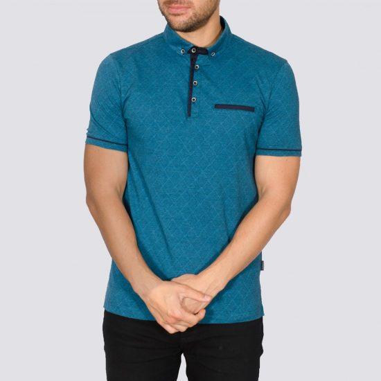 Idaho Teal Cotton Polo Shirt