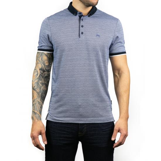 Wren Navy Jacquard Polo Shirt