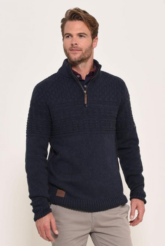 Brakeburn Navy Zip Neck Jumper