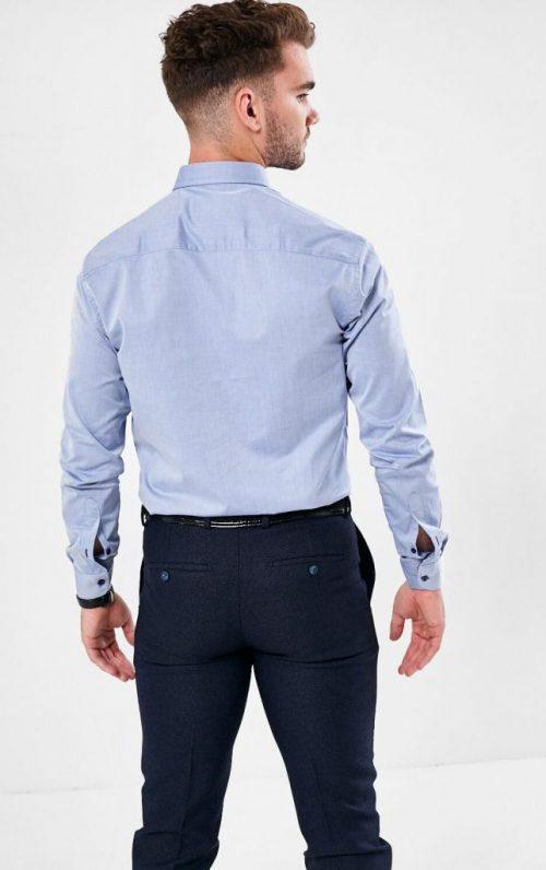Plain Design Shirt Button Down Collar Button Placket Slim Fit