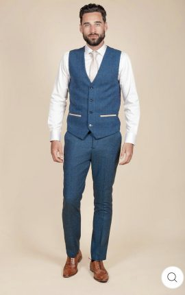 Marc Darcy Dion Blue Tweed Check Waistcoat