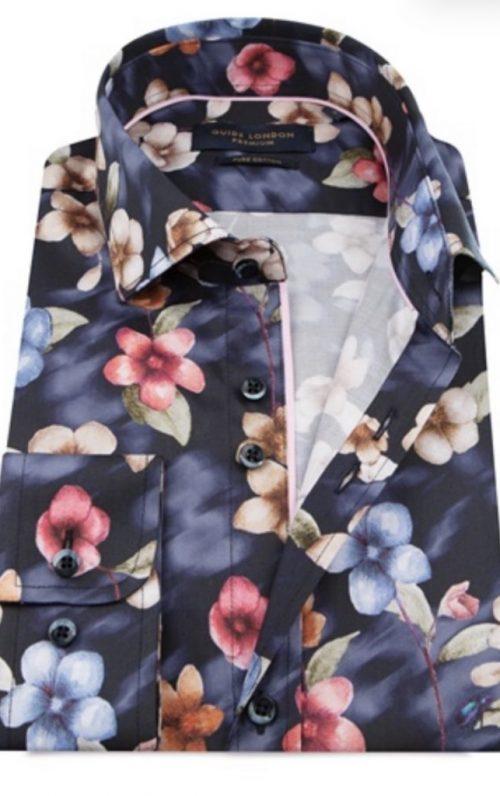 Guide London Navy Flower Print Shirt
